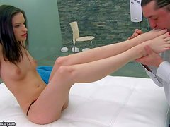 Petite brunette Ann Marie La Sante gets her wonderful neat