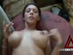 Fucking big cock into her slender body on the couch