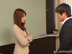 Hot Japanese office chick in sexy lingerie in a threesome