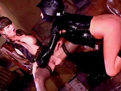 Soaking wet women have lesbo toy sex