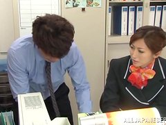 Reira Aisaki gets her ass fingered and fucked in an office