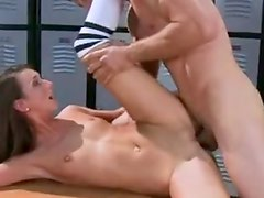 Smut chocolate haired Katie JorDan takes her coochie thumped by A Rock large penis