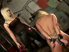 Crazy BDSM scene with horny lesbian blondes