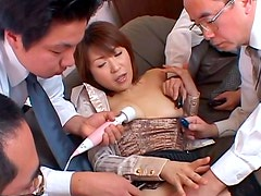 Insatiable daddies drill soaking punani of mature Jun Kusanagi with dildo