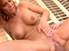 Chesty mature woman gives blowjob and gets her pussy worked over hard
