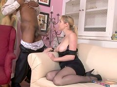 Lustful milf gives a head to rapacious black daddy