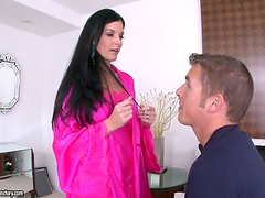 India Summer has sex with a handsome guy and gets cum on her belly