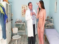 Smoking spicy black haired dame bizarre gyno exam