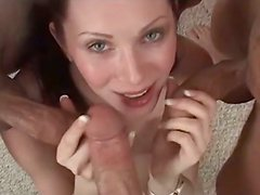 Perverted busty British slut sucks two dicks for cum passionately