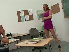 Bad teacher gives her favorite student a great blowjob