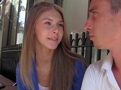 Pale skin young cutie speaks on camera with her sweet voice