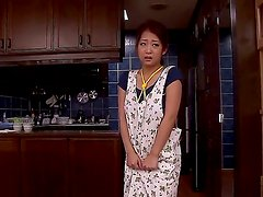 Beautiful milf babe Satomi Suzuki is having her hairy pussy nicely penetrated by her husband, that