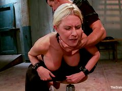 Tied up blonde with big boobs sucks a cock and gets fucked