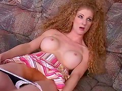 Curly redhead babe Annie Body gives tremendous blowjob