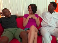 Isabella Amour sucks two black cocks and gets her cunt torn up