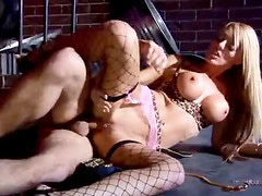 Blonde slut in sexy outfit fucked in alley