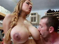 Juicy blonde  with huge jugs Yurizan Beltran gets laid in wine vault