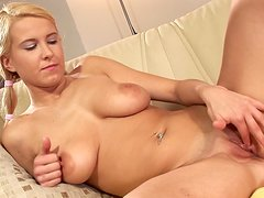 Wanda shows off her amazing boobs and fucks her snatch with a toy