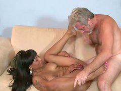 Hot ebony seductress gets her pussy fucked by white cock