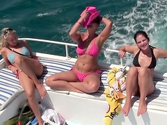 Three foxy Russian hussies take sunbath on a yacht