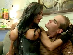 Busty transsexual babe fucks a guy and cums on his face