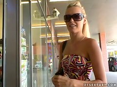 Cute blonde Sophie Moone goes for a walk and does shopping