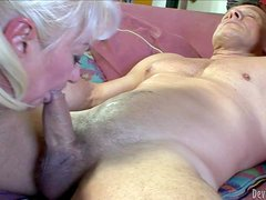 Dana Hayes is s blond-haired granny with great cock sucking
