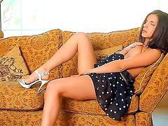 Dark haired schoolgirl Penelope is doing an awesome solo masturbation at her room, while