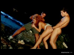 Flawless curly hair girl threesome on beach