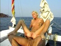 Anal sex on a boat with slender blonde