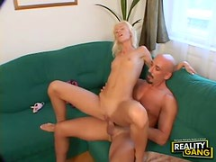 Leggy blonde babe with tity tits gets shaved pussy ravaged