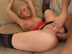 Blonde anal slut and her ass to mouth friends