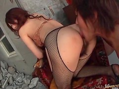 He licks her hairy Japanese pussy and ass
