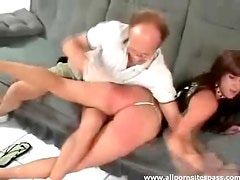 Brunette babe with hot ass getting spanked by older man