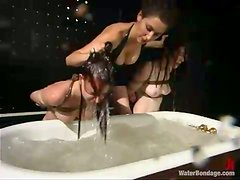 Two redhead chicks get tied up and drowned in a bathtub