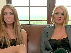 Superb blonde girls get their asses drilled on a sofa