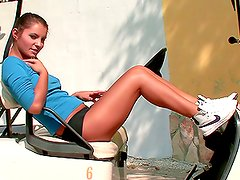 Sizzling Lucile shows her tanned body and masturbates