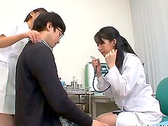 A doctor and a nurse get fucked by some lewd patient