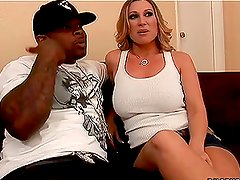 Fiery blond siren Devon gets a huge cock