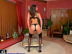 Zafira the hot brunette in stockings and lingerie in solo video