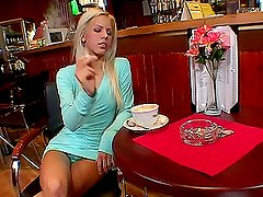 Slim blonde girl fingers and toys herself near the bar