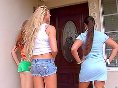 Three pretty girls get one hard cock to suck and ride