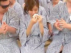 Horny Mature Chihiro Akino Fucks a Blindfolded Guy with an Audience
