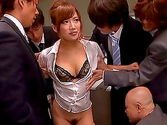 Bukkake Gangbang in the Office for Sexy Japanese MILF