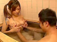 Dazzling Busty Asian Teen Pleasing a Lucky Cock in the Bathtub