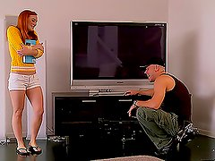Gorgeous Redhead Gives Footjob & Gets Nailed
