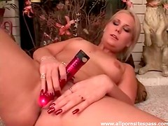 Sensual blonde minx with perky tits fucking red dildo