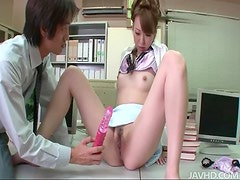 Oriental goddess with juicy pussy gets toyed with in the office