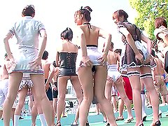 Crazy Outdoors Orgy with A Lot of Freaky Japanese Chicks