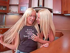 Blond Teen Pussies Toying Each Other's Assholes in the Kitchen